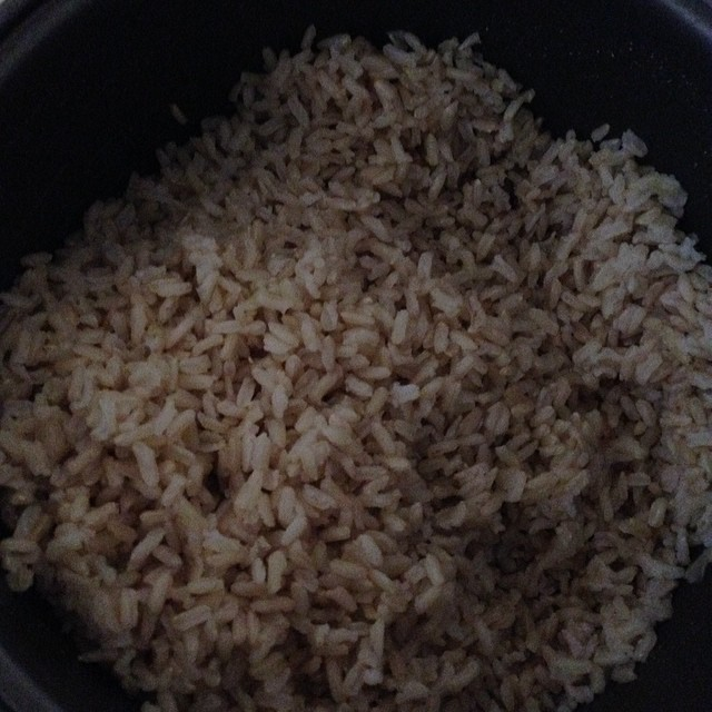 Brown rice in rice cooker ready to be added tohellip